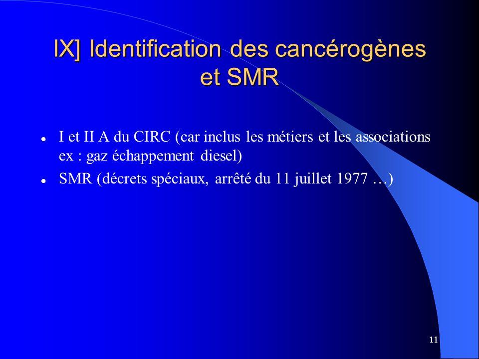IX] Identification des cancérogènes et SMR